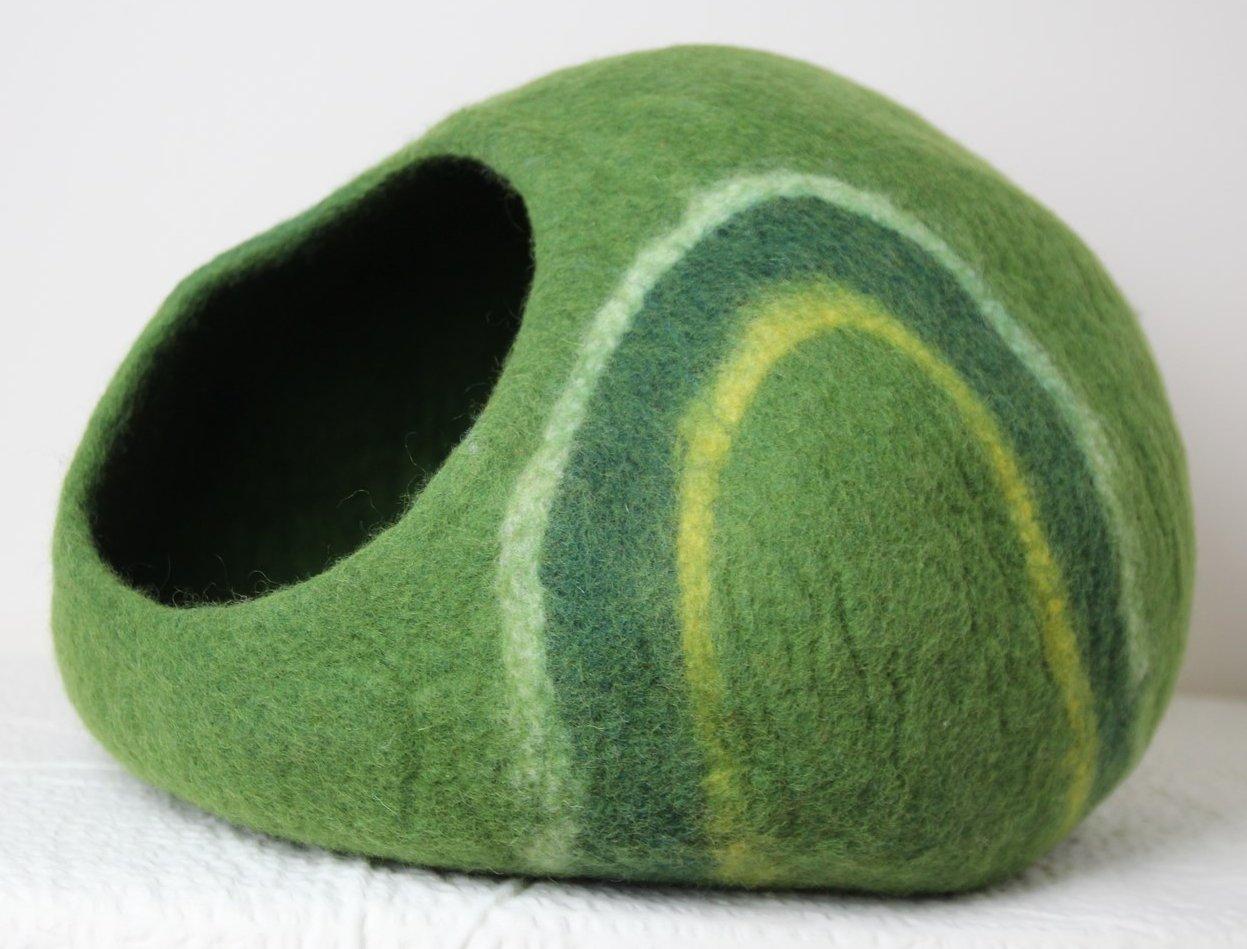 Höhle für Katzen aus Filz in grün